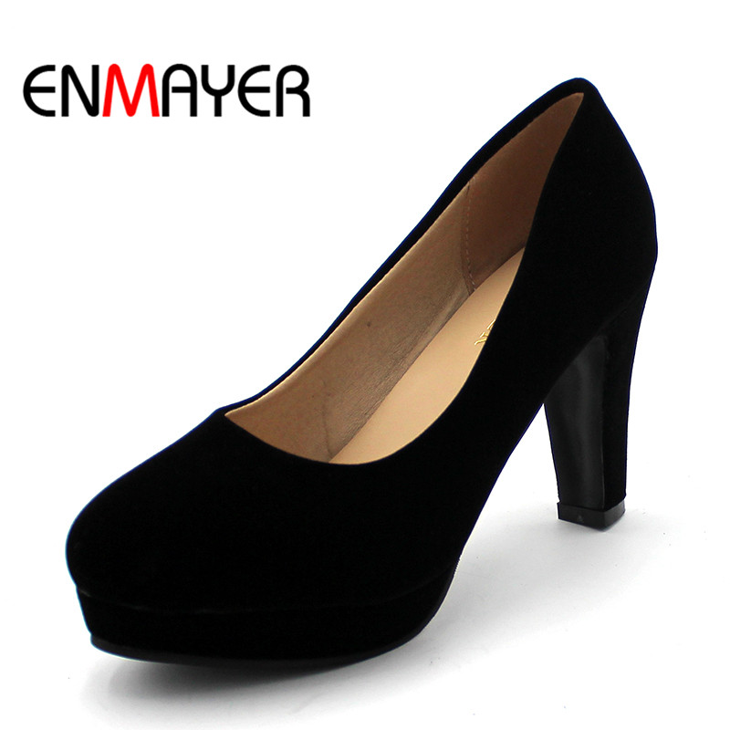 ENMAYER High Heels Shoes Women 2017 Pointed Toe Slip-on Spring&Summer Party Shoes Woman Shallow Pumps in Women's Casual Shoes gold chain party 2017 spring summer casual shallow slip on square toe bling square heels women pumps free ship mujer pantufa