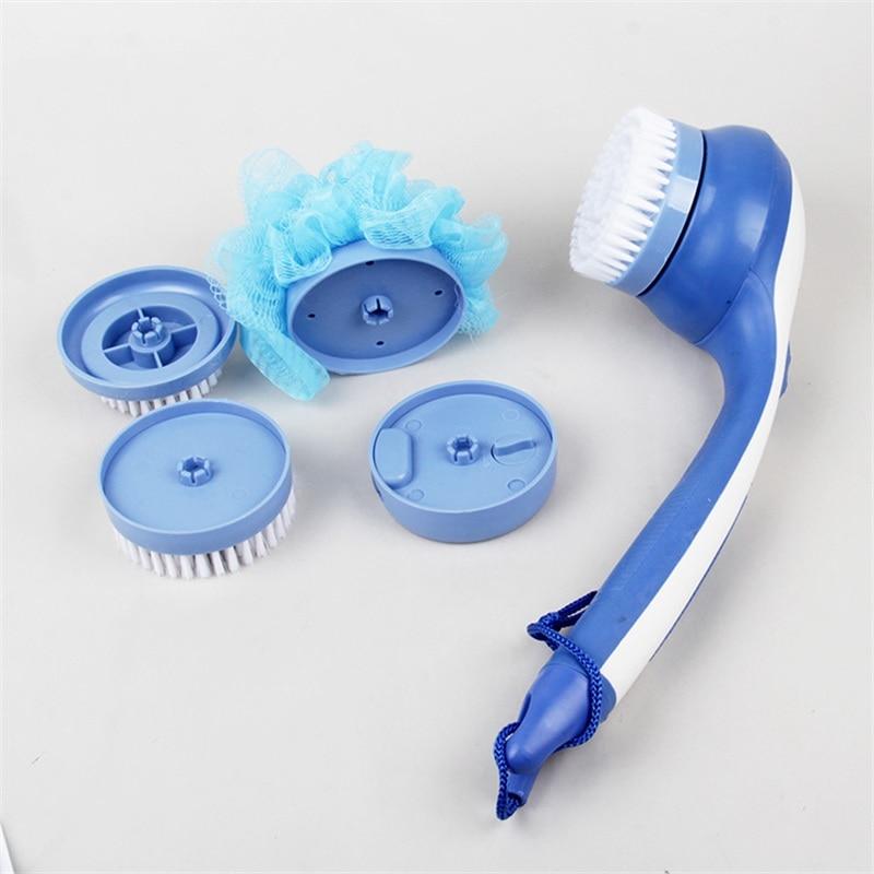 Cleaning Bath Brush Scrub Spin SPA Massage Electric Shower Brush System  Long Handled Bathroom Tool