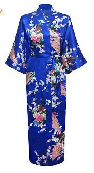 74265af20dc5d العلامة التجارية جديد طويل رداء الحرير رايون البشكير ثوب النوم للنساء  كيمونو ملابس خاصة زهرة زائد حجم S-XXXL