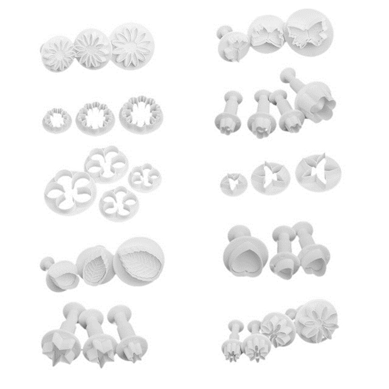 33Ps Flower Set Plunger Fondant Cutter Cake Tools Cookie Biscuit Cake Mold Mould Craft DIY 3D Sugarcraft Cake Decorating Tool