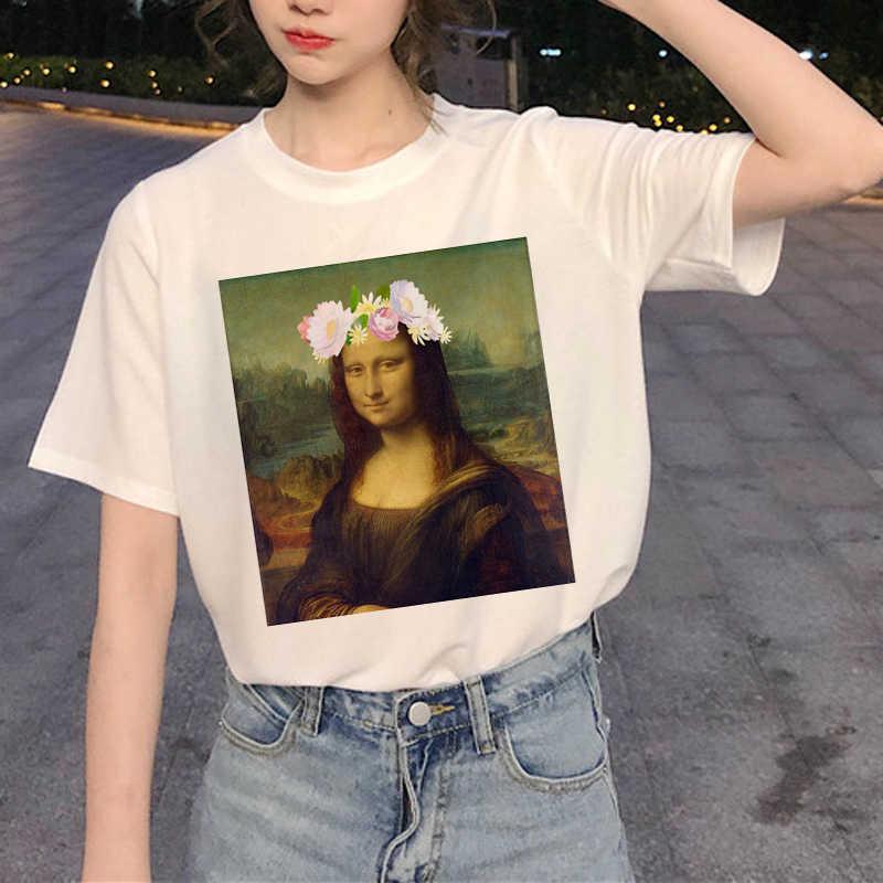 الموناليزا المتناثرة Ullzang مضحك T قميص المرأة الجمالية الكرتون تي شيرت مطبوع 90 ق الجرافيك التي شيرت الكورية نمط أعلى المحملات الإناث
