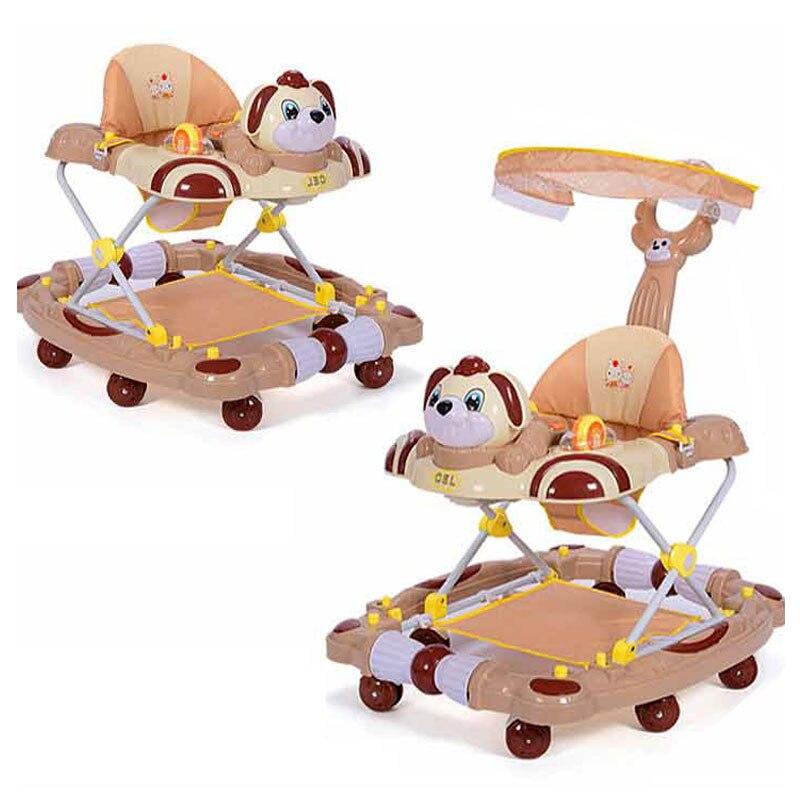 Trotteur bébé à 8 roues Anti renversement poussette pliante avec musique cinq niveaux réglage marcheurs d'apprentissage tuyau à bascule landau