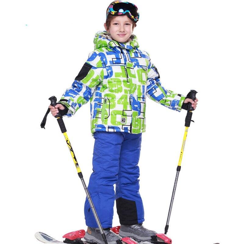 ФОТО Russian outdoor Winter Children Clothing Sets Windproof Boy Ski Suit Warm Fleece Boys Ski Jackets+Bib Pants 2pcs Kid Clothes Set