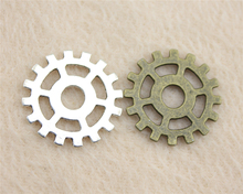 15pcs 25mm Antique Silver Or Bronze Gear Charm , Steampunk Gear Charm For Jewelry Making Handmade DIY Accessories