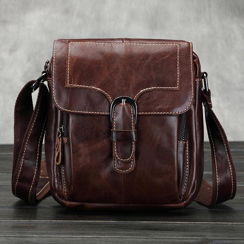 Жаңа ерлердің бірінші қабаты Cowhide Түпнұсқасы Retro Belt Buckle Cross Body Shoulder Messenger Vintage Business Bag