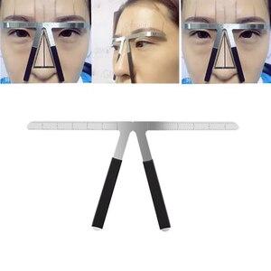 Image 4 - Microblading الحاجب التوازن حاكم المعادن الوشم تشكيل Stencil تجميل دائم الفرجار الحاجب حاكم