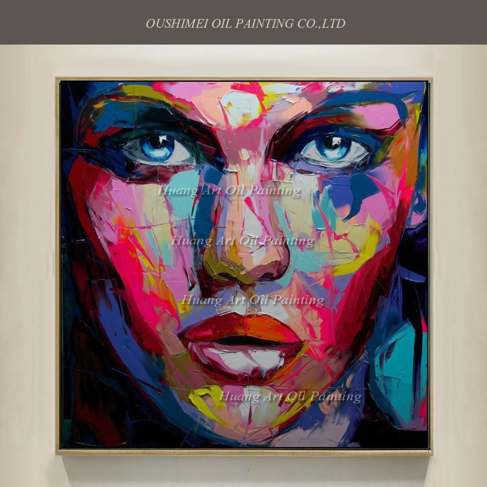 Pop Art ručně malované dívka portrét olejomalba na plátně abstraktní nůž ženy tvář akrylové postavy obrazy domov nástěnná výzdoba