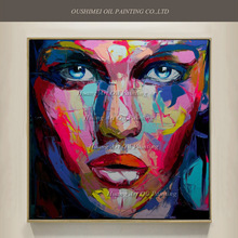 Pop Art Hand Painted Girl Portrait Oil Painting on Canvas Abstract Knife Women Face Acrylic Character Paintings Home Wall Decor