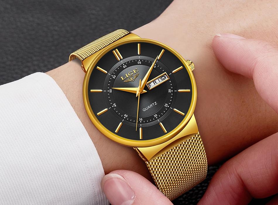 HTB1atpKd79E3KVjSZFGq6A19XXaI Relogio Masculino 2019 LIGE New Mens Watches Top Brand Luxury Ultra Thin Quartz Watch Men Steel Mesh Strap Waterproof Gold Watch