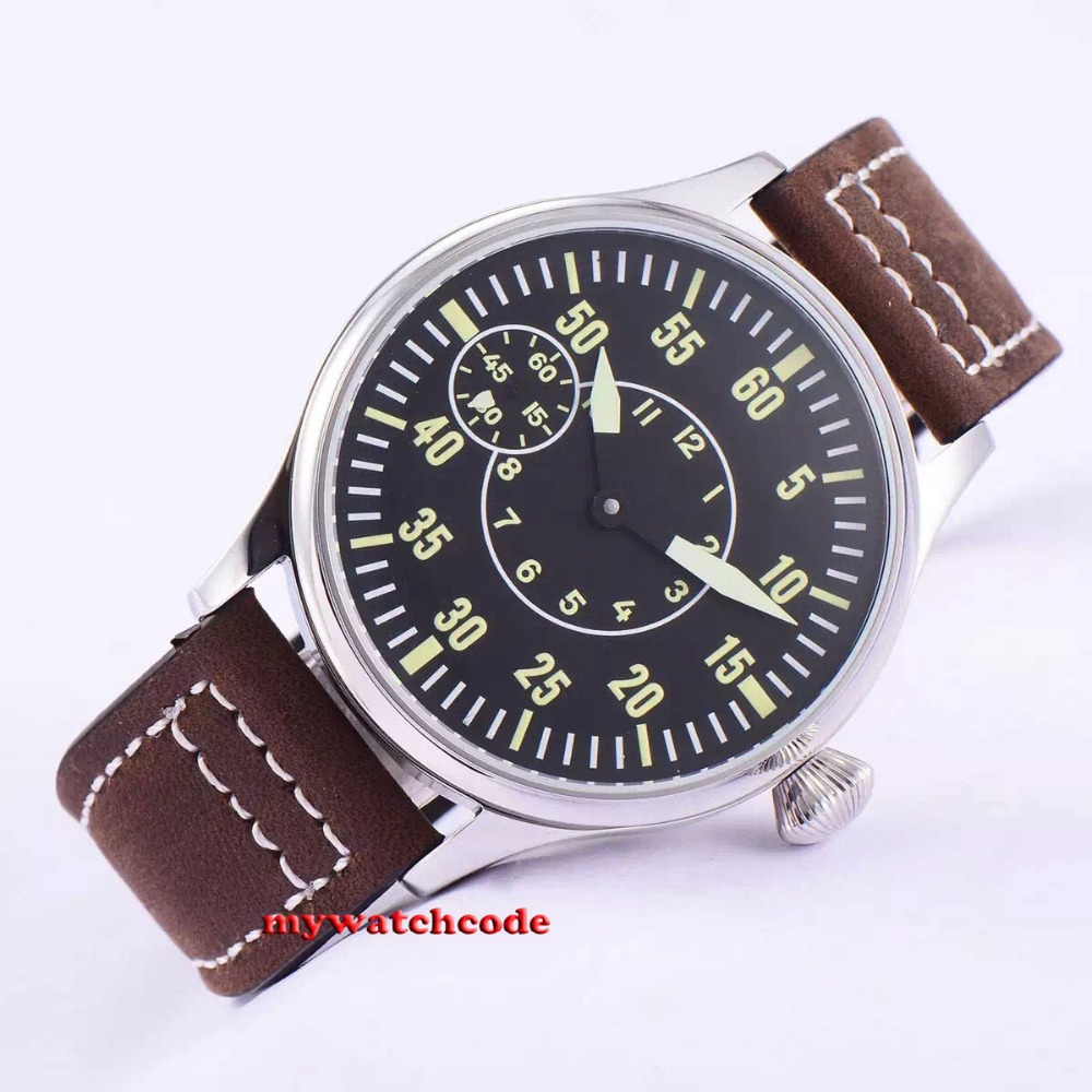 44mm corgeut 블랙 다이얼 카우 스트랩 6497 핸드 와인딩 무브먼트 남성 시계 55b-에서기계식 시계부터 시계 의  그룹 1