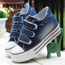 KBstyle 2017 Новый Женская Обувь Зашнуровать Случайные Холст Обувь Женщин Платформа Весна Лето Женщины Джинсовые Сапоги