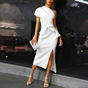 Jedno ramię ruched nieregularna suknia wieczorowa kobiety szczelina wysokiej talii tłoczenie sukienki lato 2019 biały czarny elegancki vestidos femme
