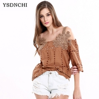 YSDNCHI Tank Top Women Fitness Elegant Flower Embroidery Lace Blouse New Fashion Summer Tube Top Shirt Hole Clothing For Lady