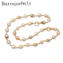 BaroqueOnly 100% Natural Freshwater Edison Pearl Necklace choker Bracelet  sweater chain drop shape Baroque pearl necklace
