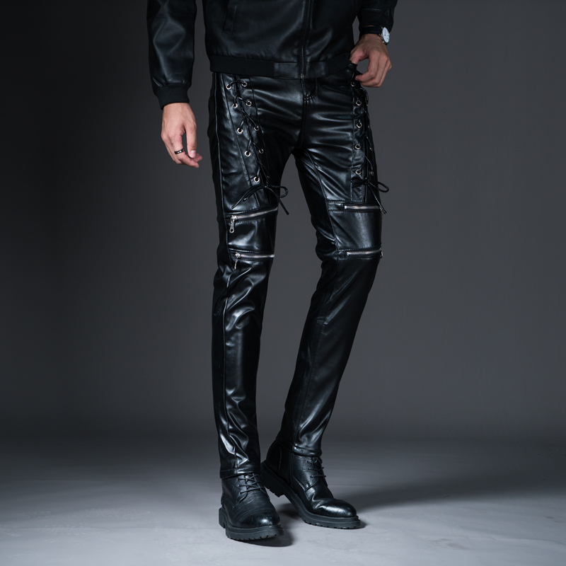 New Winter Spring Men's Skinny Leather Pants Fashion Faux Leather Trousers For Male Trouser Stage Club Wear Biker Pants 27