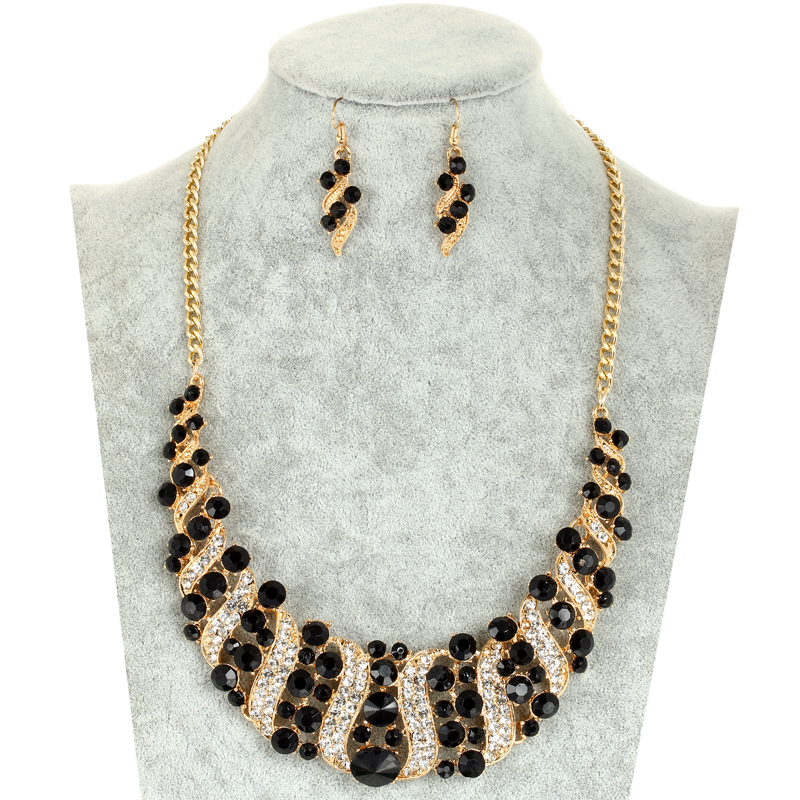 Gold Color Jewelry Set Cubic Zircon Beads Chocker Necklac Drop Earrings Set Crystal Jewelry Sets