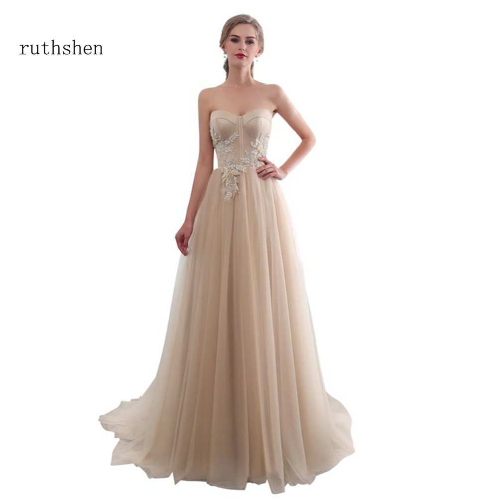 ruthshen Long A line Evening Dress With Appliques Draped Tulle Floor Length Women Formal Champagne Strapless