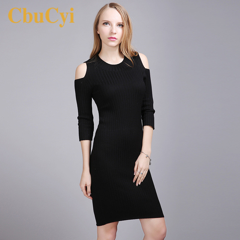 CbuCyi Spring Womens Clothing Long Pullovers Sweaters Dresess O-neck Off-shoulder Sexy Knitted Sweater Jerseys Casual Sweaters
