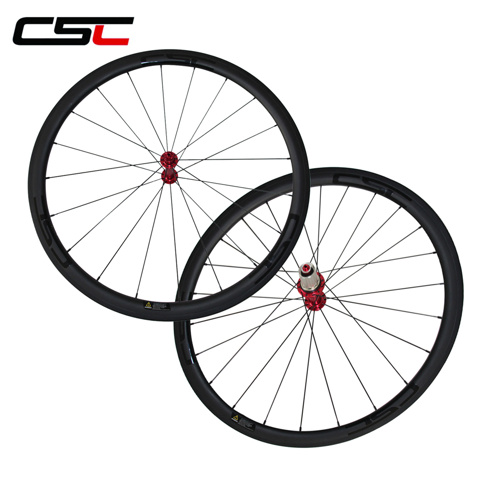CSC 25mm width U shape 38mm clincher carbon racing wheels with Powerway R13 hub and sapim