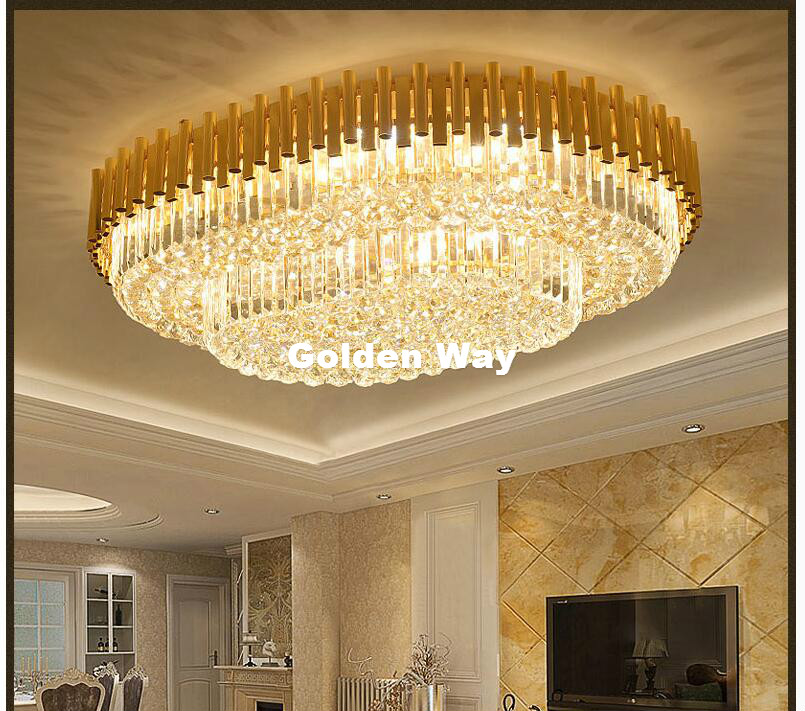 Free Shipping L80cm W60cm LED Crystal Ceiling Lamp Living Room Nordic Golden Home Decoration Ceiling Lighting LED Crystal Lights|Ceiling Lights| |  - title=