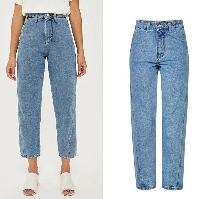 0111e95270b JRNNORV Fashion Womens Plus Size High Waist Washed Light Blue True Denim  Pants Boyfriend Jean Femme