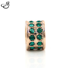 Endless Jewelry Dark Green Rhinestone Rose Gold Charm For Bracelet MFC3482