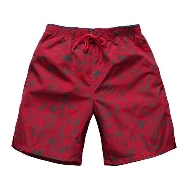 efa664f7b36 Summer Men's Shorts Male Red Printing Quick-dry Fifth Shorts Men Seaside Board  Shorts Hawaiian