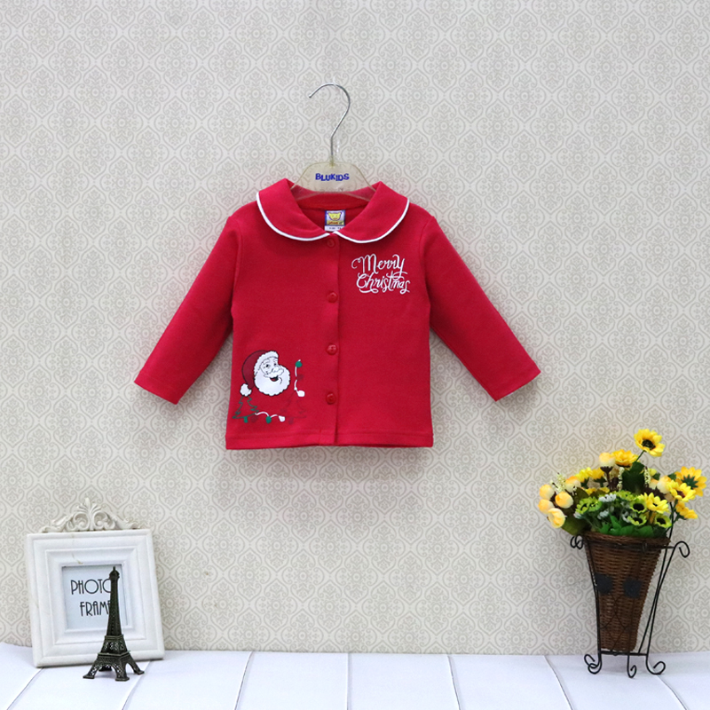 Baby Christmas Pure Cotton Blouse Newborn Long Sleeve Shirts Kids Clothes Fashion Boys And Girls Clothing