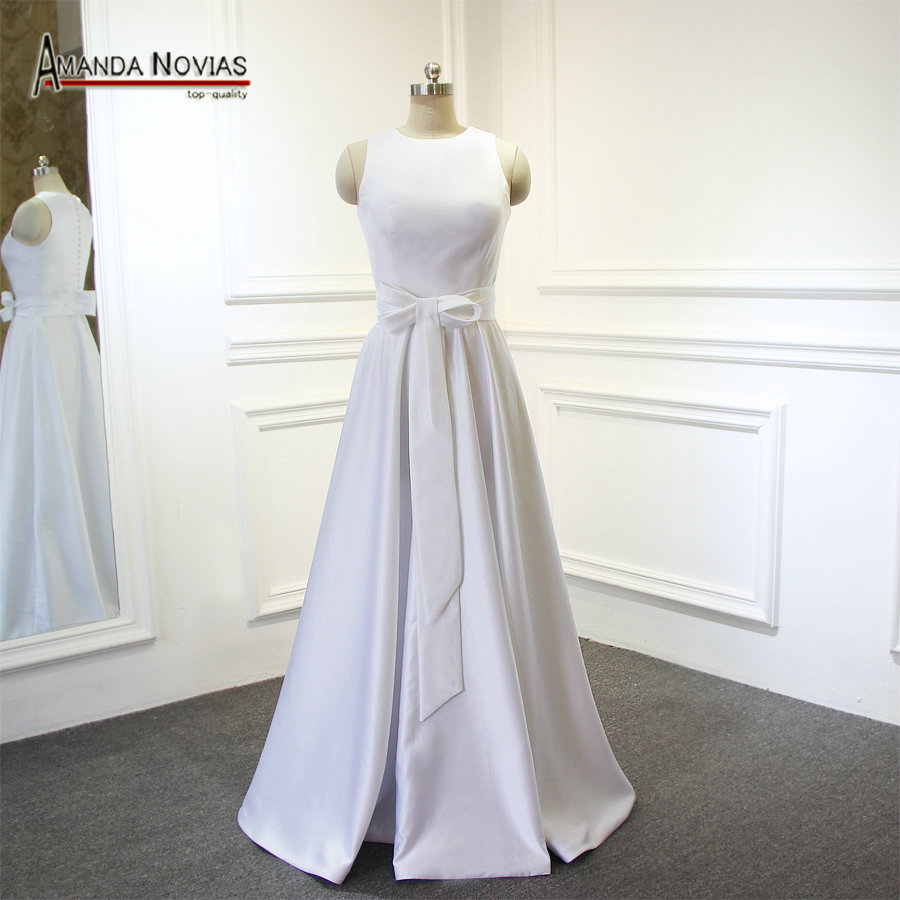 elegante satinado vestido de boda de playa nuevo estilochina