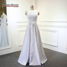 Elegante cetim praia vestido de casamento 2019 novo estilo