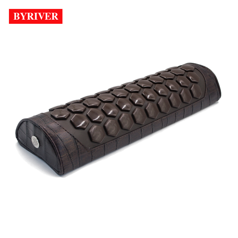 BYRIVER Real Tourmaline Heating Massage Pillow Collar, Electric Warming Neck Massager, Relief Cervical Muscle Pain Tension 220V