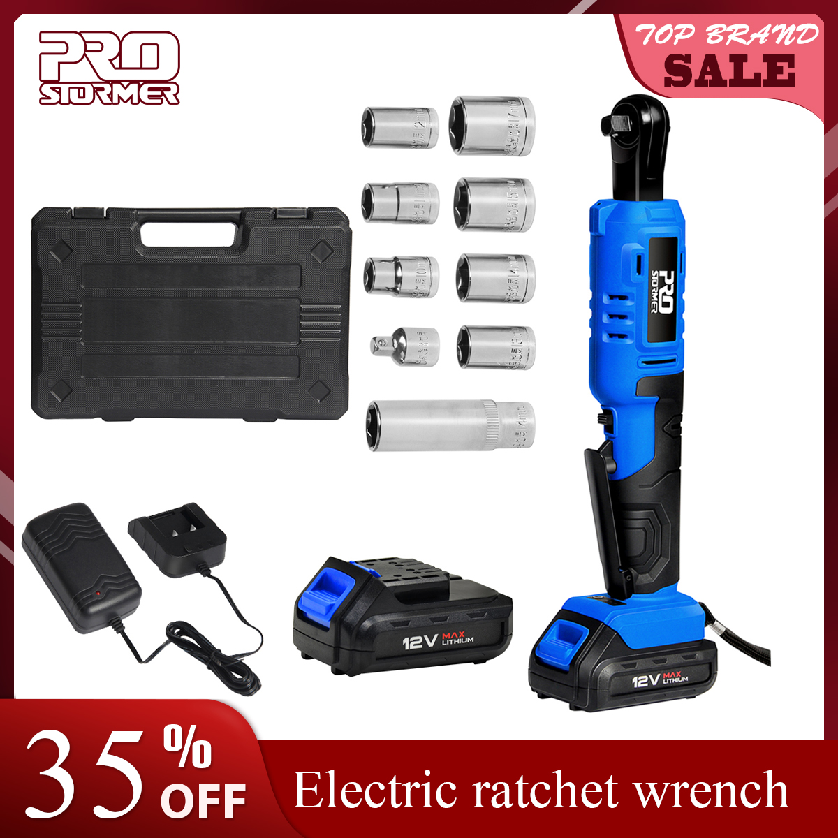 PROSTORMER 12V Electric Ratchet Wrench 45NM Torque 3 8 inch Cordless Wrench 2000mAh Rechargeable Battery Standable