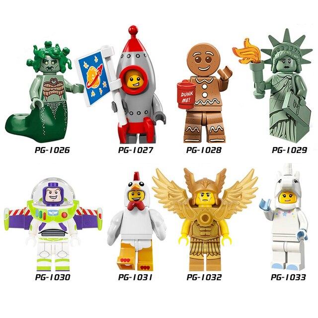 2018 Super-heróis Figuras Buzz Senhora Liberdade Medusa homem Gengibre Rockey MENINO LEGOINGLYS Blocos de Construção de Mini Tijolos Brinquedos Para Crianças