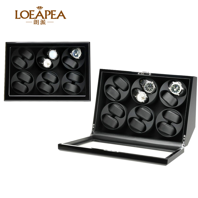 Deluxe Watch winder box for 4/6/12 automatic watch storage box with Front door window and Battery box/Birthday present gift boxDeluxe Watch winder box for 4/6/12 automatic watch storage box with Front door window and Battery box/Birthday present gift box