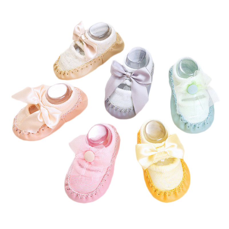 Bow Infant Baby Socks With Rubber Soles Floor Summer Baby Socks Boy Girls Anti Slip Leather Baby Floor Socks Shoes Clothes