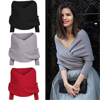 Women Sweater Autumn Winter Warm Sexy V neck Wrap Chunky Knitted Sweaters Off Shoulder Long Sleeve Female Loose Oversize Scarf