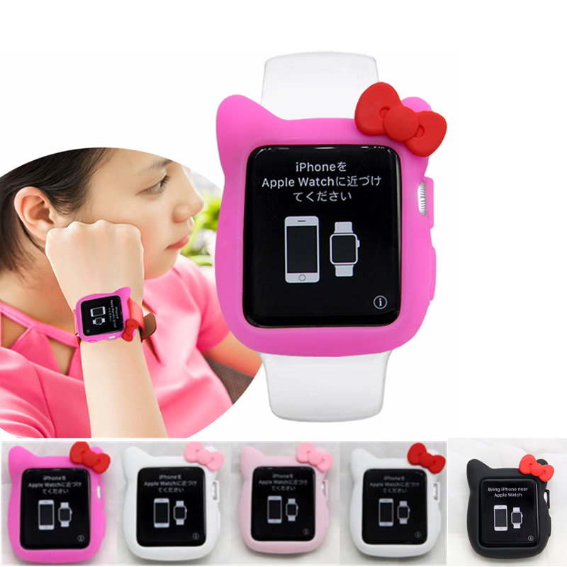 YUKIRIN Cute Rubber Bow Cat Soft Silicone Band Case For Apple Watch Series 5 4 3 2 1 Cover For Iwatch 38mm 42mm 40MM 44MM