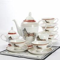 Европейский красный сердце костяного фарфора Кофе Набор Творческий подарок Керамика офисные напитков