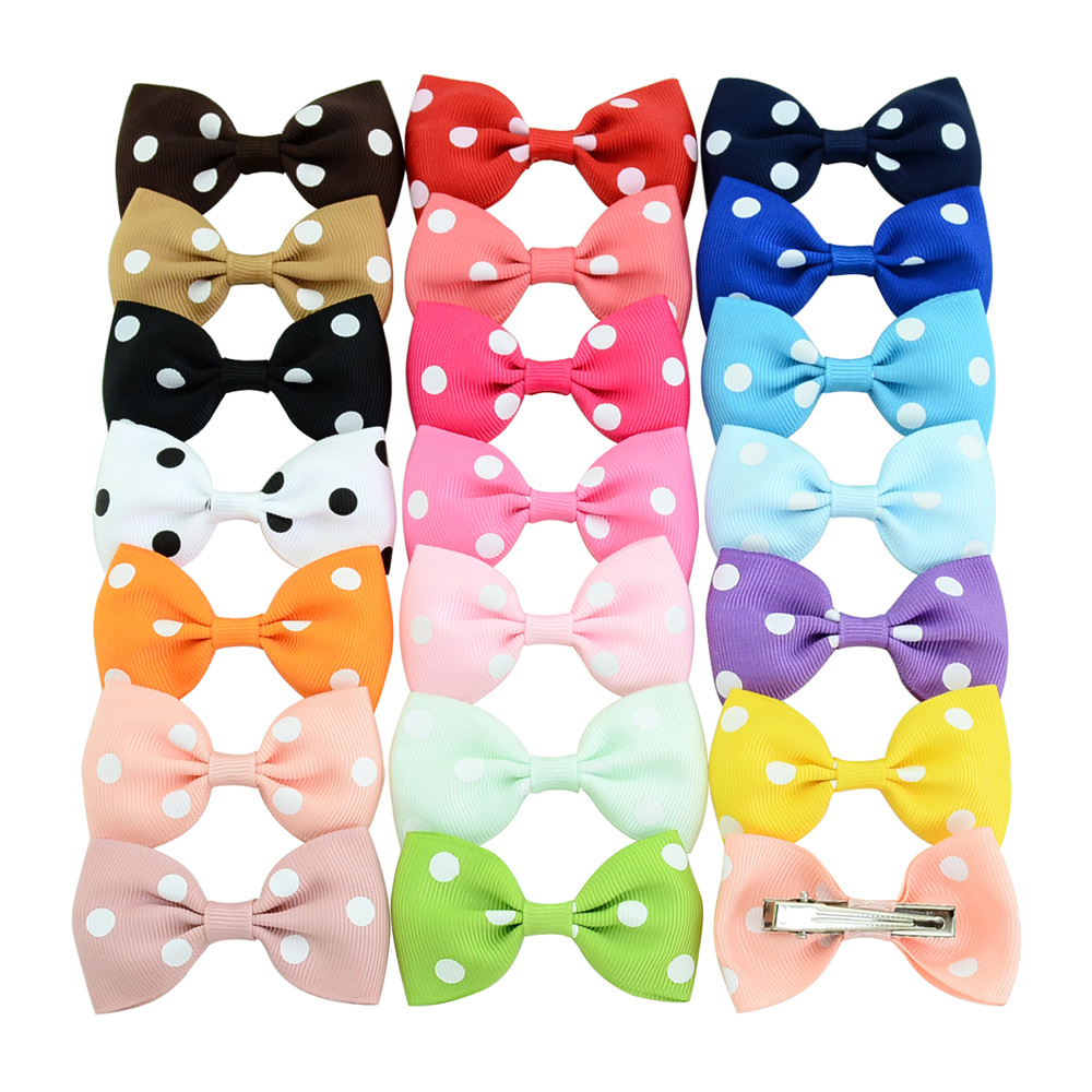 20pcslot Cheering Candy Barrettes Kids Bowknots Dot