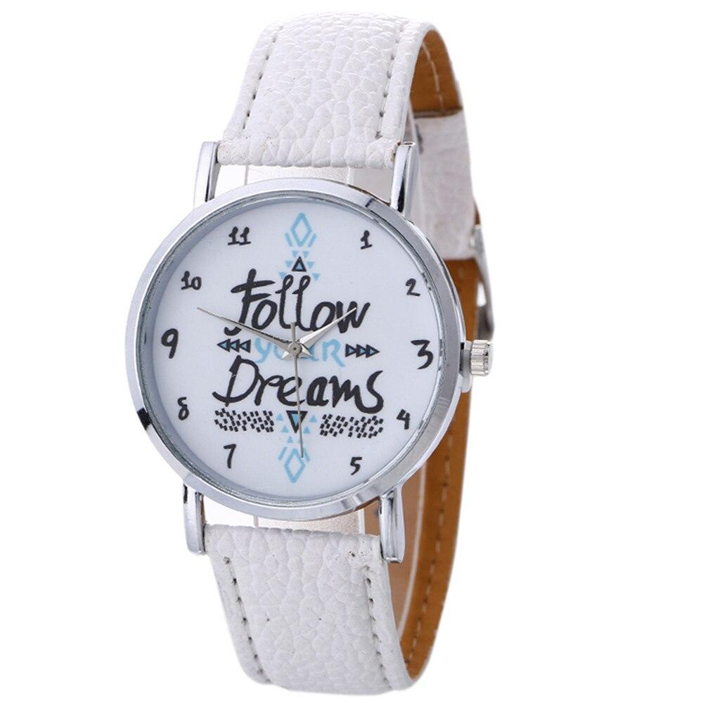 Vogue Neutral Letter Pattern Leisure Watch Women Girls Casual Fashion Leather Quartz Wrist Watch Zegarek Damski QuickSand A7020