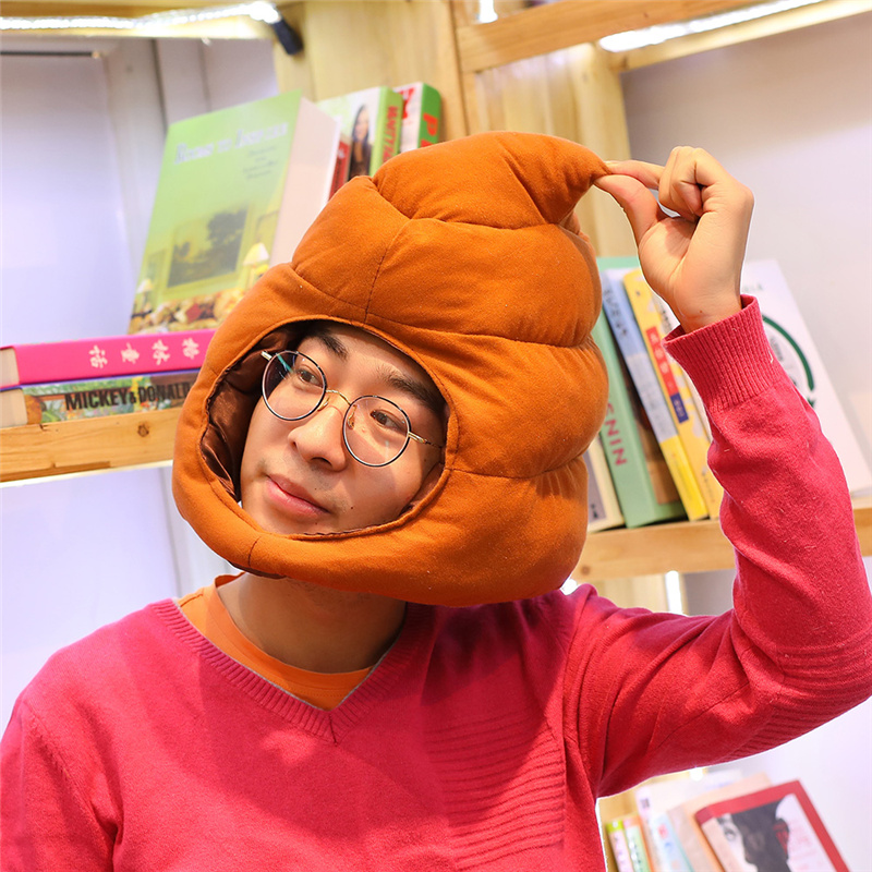 Anime film chaud merde excrément chapeau en peluche Cosplay jouet enfant accessoires en peluche jouet poupée tête chaud fantaisie casquette bébé cadeaux drôles