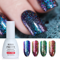 BORN PRETTY 1Set Peacock Chameleon Nail Gel Holographic Glitter UV Gel Nail Polish 10ml Red Color Changing Gelpolish Nail Art