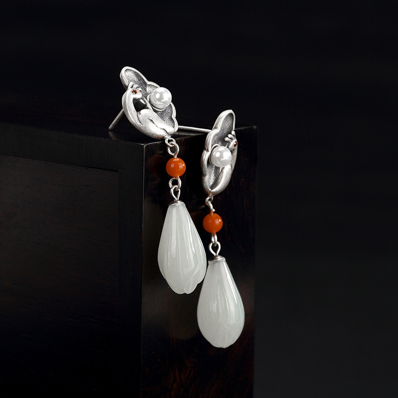 silver Phoenix South red natural and Hetian jade white jade magnolia flower female earring earrings wholesale Earringssilver Phoenix South red natural and Hetian jade white jade magnolia flower female earring earrings wholesale Earrings