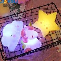 Luz da noite criativo lâmpada de cabeceira alimentação silicone mini lampUnicorn pentagrama Bonito mini
