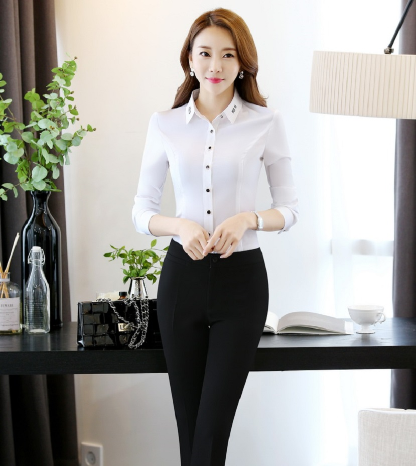 c3489b132d4 Novelty Ladies Pants Suits for Women Business Suits With Two Piece Blouses  and Pant Sets Elegant Office Uniforms ...