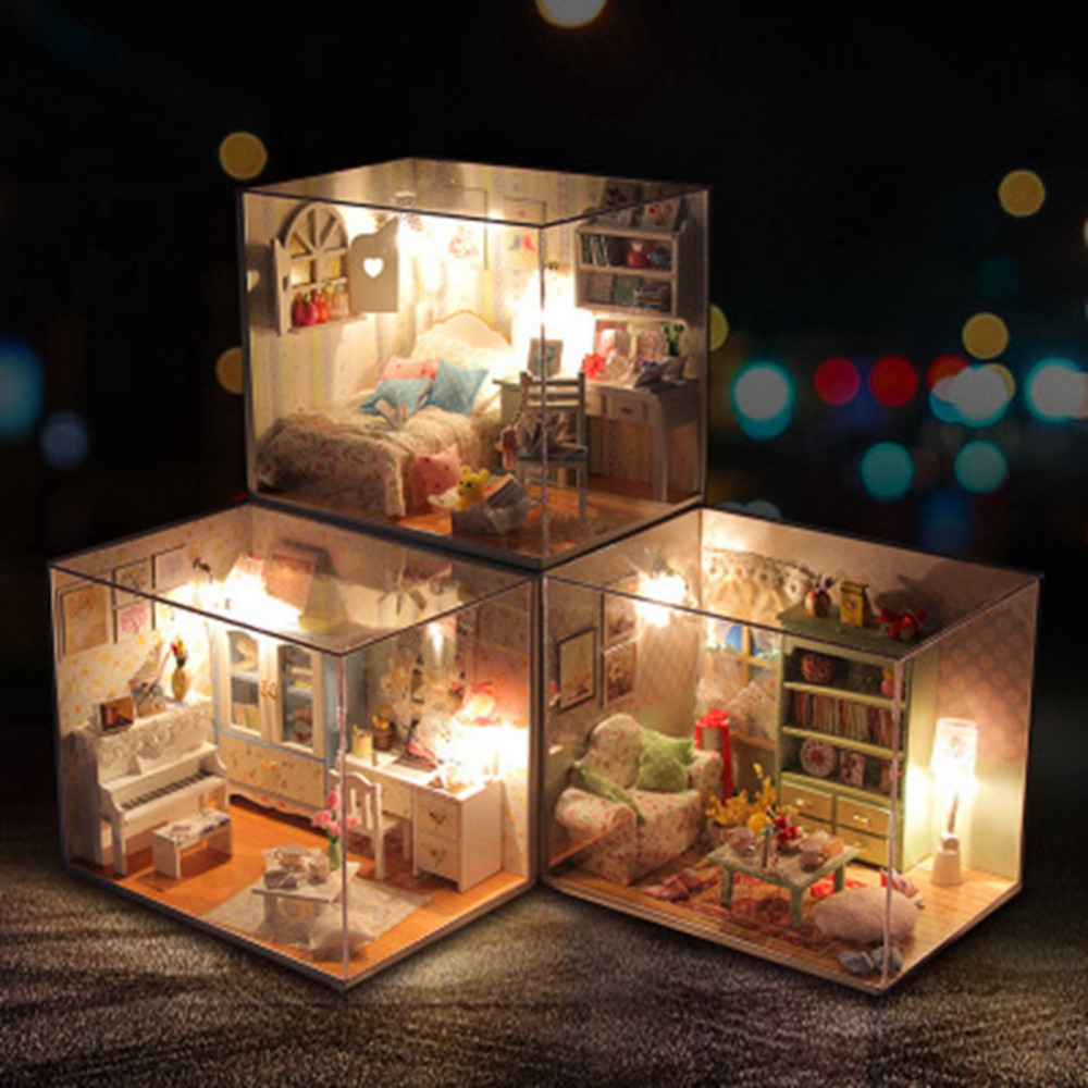 DIY Model Dollhouse Furniture Miniature Doll House 3D Wooden Creative Model  Building Christmas Gift Toys For Children 2019
