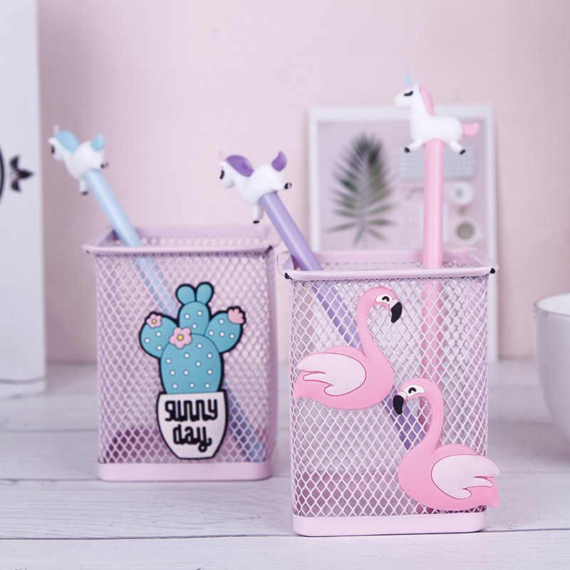 Kawaii Pembe Unicorn Kaktüs Flamingo 1 Adet Ofis Ev saklama kutusu Yönetmek Kutusu Kalem kalemlik Standı Öğrenci Kırtasiye