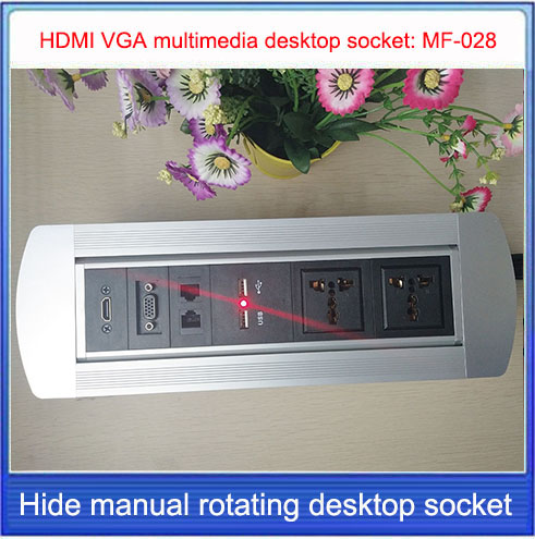 EU plug Desktop socket/hidden manual rotation /multimedia USB charging  RJ45 VGA HD HDMI interface Cable desktop socket / MF-028