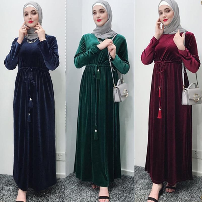 Velvet Abaya Femme Kaftan Robe Dubai Muslim Hijab Dress Turkey Abayas For Women Caftan Marocain Elbise Ramadan Islamic Clothing