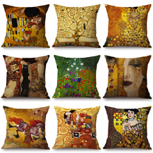 2018 New Gustav Klimt Painting Cushion Cover Gold Pattern Print Pillow Case Linen Cotton Throw Pillow Cover Decorative For Home cloud and balls pattern decorative throw pillow case